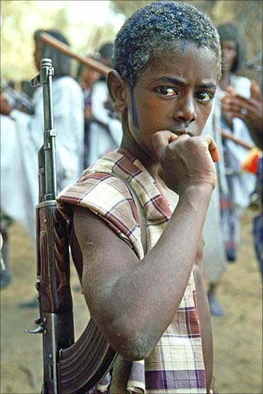 A young soldier in Sudan.
