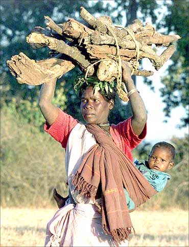 A tribal woman returns with her baby after collecting wood in Kodapani village in Chattisgarh.