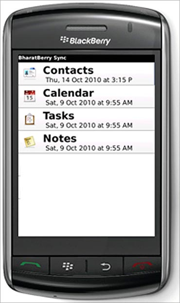 Bharat Berry mobile PIM sync application on a BlackBerry handset.