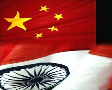 China-India flag