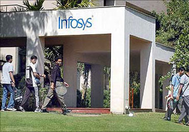 Infosys employees at the company's Bengaluru campus.