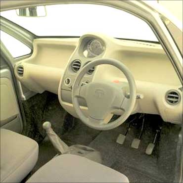 An interior view of Tata Nano.
