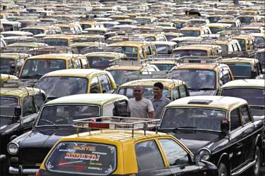 Taxis are off the roads in Mumbai.