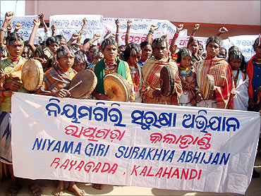 Tribals protest.