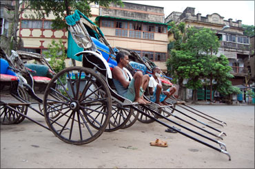 Rickshaws keep off the roads in Kolkata on Tuesday.