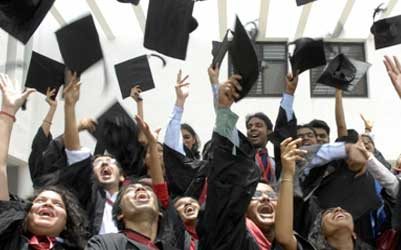 Students of the graduating class of the National Academy of Legal Studies and Research, University of Law, Hyderabad.