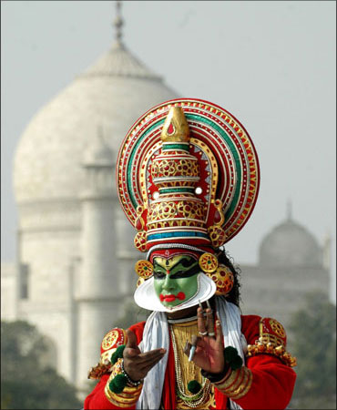 A Kathakali dancer.