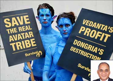 Demonstrators, dressed as characters from the film Avatar, protest against Vedanta. Inset: Vedanta Aluminium CEO Mukesh Kumar.
