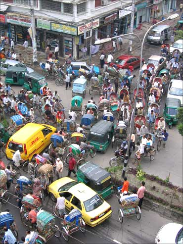 Traffic snarl-up in Dhaka.