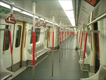 A compartment of Hong Kong's MTR.