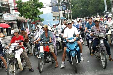 Bikers throng the roads of Ho Chi Minh City.