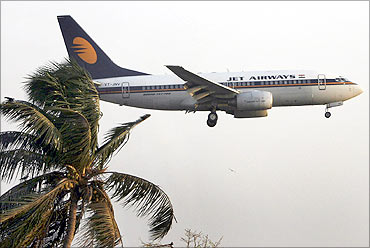 A Jet Airways aircraft.