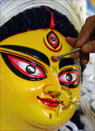 A Durga idol being painted.