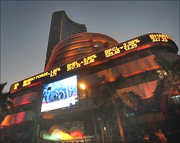 BSE building lit up during Diwali.