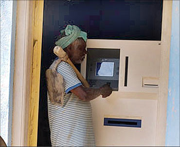 A villager at an ATM.