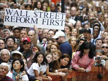 People protesting during President Barack Obama's visit to New York.