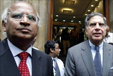 Former TCS CEO S Ramadorai and Tata Group chairman Ratan Tata.