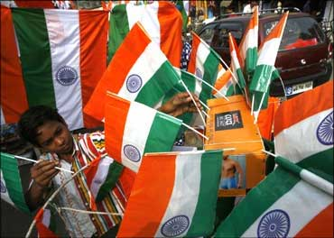 A boy selling Indian flags before Independence Day.