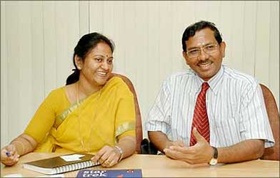 K Pandia Rajan with his wife Hemalatha, at their office in Chennai.