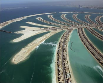 An aerial view of The Palm Island Jumeirah in Dubai.