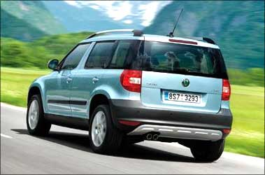 Rear view of Skoda Yeti.
