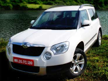 The front view of Skoda Yeti.