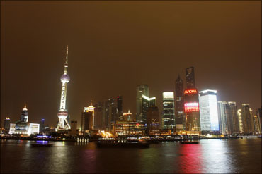 The Bund on the banks of the Huangpu River is pictured before Earth Hour in Shanghai.