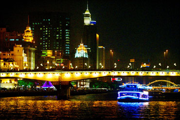 A tourist boat sails at Pearl River which is the area most historically known as Canton, in Guangzhou.