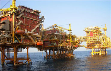 ONGC oil rig at Mumbai High in the Arabian Sea.