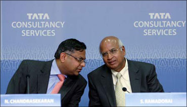 TCS CEO N Chandrasekaran with former TCS chief S Ramadorai (right).