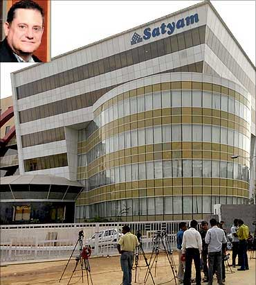 Satyam headquarters in Hyderabad. Ed Cohen (inset).