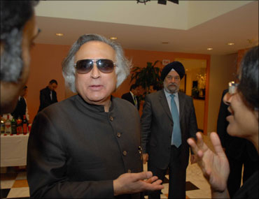 Environment Minister Jairam Ramesh at a meeting with AOSIS representatives in New York.