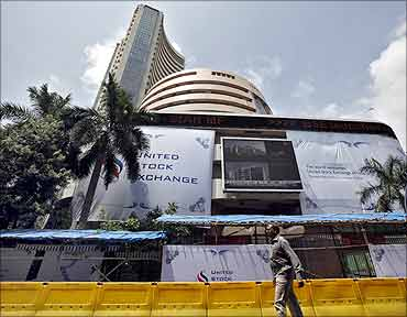 A man walks past the Bombay Stock Exchange (BSE) building in Mumbai.