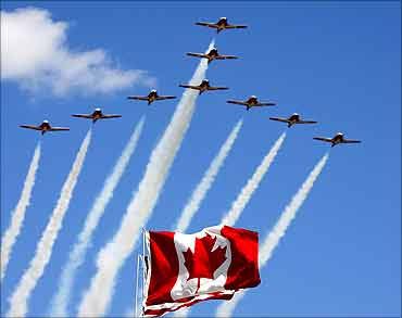 CT-114 Tutor jets from the Canadian Forces Snowbirds.