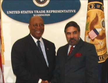 US Trade Representative Ron Kirk and Commerce and Industry Minister Anand Sharma at US - India Trade Policy Forum in Washington