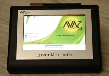 Avaz, a talking device for those afflicted by cerebral palsy.