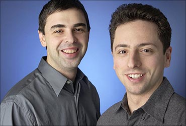 Larry Page (L) with Sergey Brin.