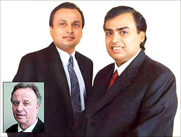 Anil and Mukesh Ambani. (Inset) Hamish McDonald.