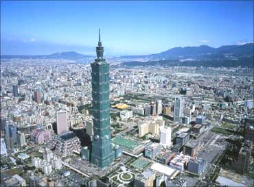 Skyline of Taipei, Taiwan.