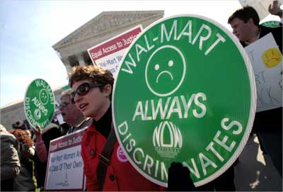Protesters against Wal-Mart.