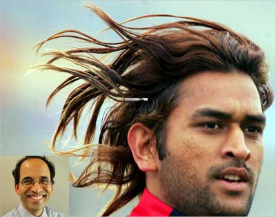 A 2006 file photo of Dhoni in Lahore. Inset: Harsha Bhogle.