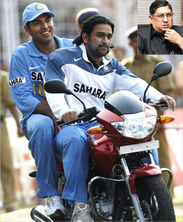 A 2006 file photo of Dhoni (R) and Yuvraj Singh on a motorcycle. Inset: N Srinivasan.