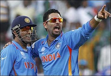Yuvraj Singh with M S Dhoni.