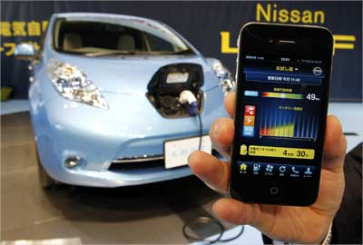 A smartphone shows a battery residual quantity meter of Nissan Leaf in Yokohama, Japan.