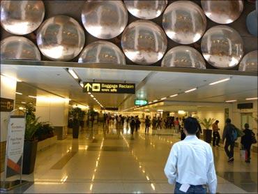 Delhi airport.