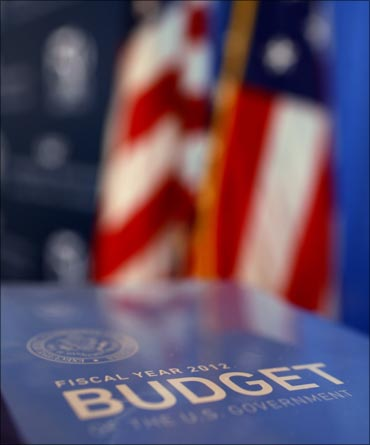 President Obama's FY2012 budget proposal sits on a table.