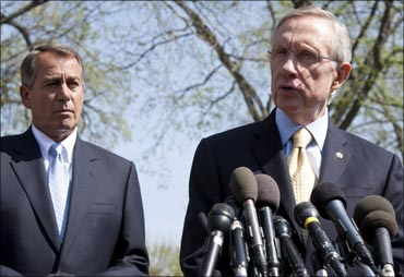 Senate Majority Leader Harry Reid (D-NV) (R) and Speaker of the House John Boehner (R-OH).