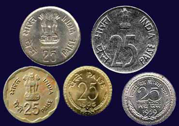 Old 25 paise coins.