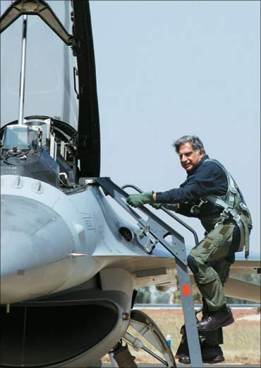 Ratan Tata getting on to the Falcon F18.