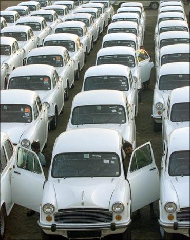 Ambassador cars at Hindustan Motors plant.